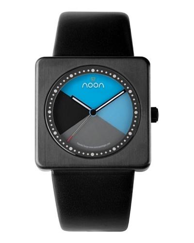 Noon Design Kollektion – Reloj analógico unisex de cuarzo con correa de piel negra – sumergible a 50 metros