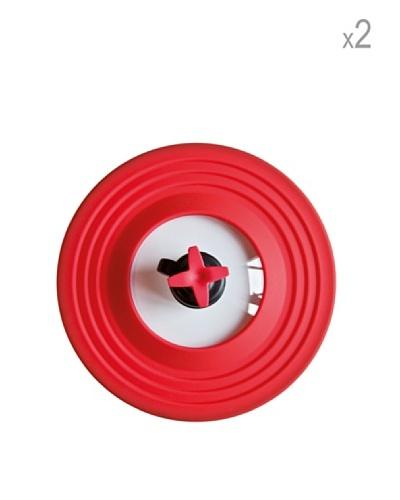 Pavoni Set 2 Mini Tapas Con Válvula de Silicona Rojo