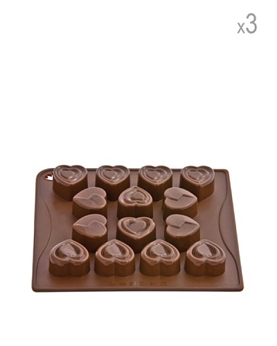 Pavoni Set 3 Moldes De Corazones Para Chocolatinas