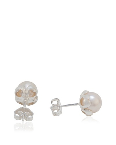 Pearl & Queenie Pendientes  Pearl of Hearts Studs Sil/White