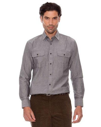Pedro Del Hierro Camisa Doble Bolsillo Gris Oscuro