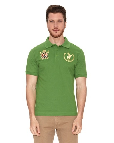 Polo Club Polo Manga Corta Custom Fit Escudo & Logo Verde