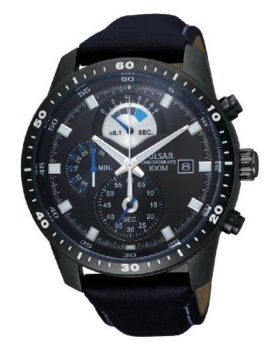 Pulsar Sport - Reloj analógico de caballero de cuarzo con correa de piel negra (cronómetro) - sumerg...
