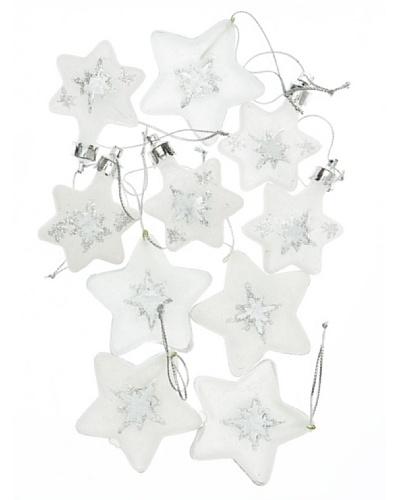 REILA Set 10 Colgantes Estrellas Glacé Blanco