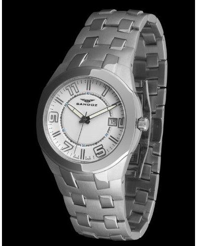 Sandoz 71547-00 - Reloj Col. Diver caja redonda plata / blanco