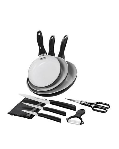 Santa Clara Set 3 Sartenes Eco Negro + Set Cuchillos Suprem Ceramic