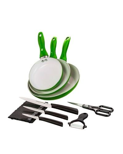 Santa Clara Y Quttin Set 3 Sartenes Eco + Set Cuchillos Suprem Ceramic Verde