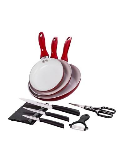 Santa Clara Y Quttin Set 3 Sartenes Eco + Set Cuchillos Suprem Ceramic Rojo