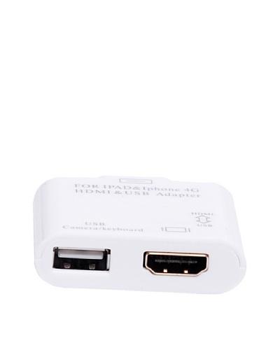 Adaptador HDMI + USB Para iPad 2/3, iPhone3/4/4s, iPod Touch