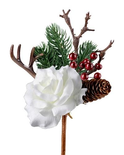 Silea Bouquet Rosa Y Pino Navidad Blanco