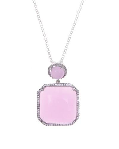Silver Luxe Collar Luxe Diamantado & Cuarzo Rosa
