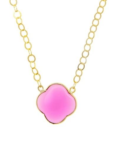 Silver Luxe Collar Trébol dela suerte Ágata Pink