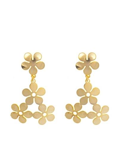 Silver Luxe Pendientes Trio de Flores en Oro