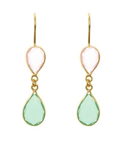 Silver Luxe Pendientes Dolce & Ágata Verde Y Rosa