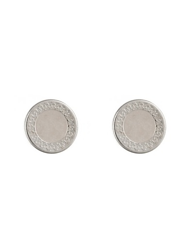 Silver One Pendientes Greca Blanca