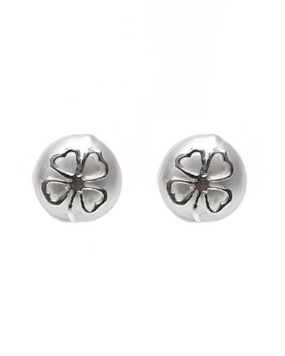 Silver One Pendientes Trébol de la Suerte Gran Perla