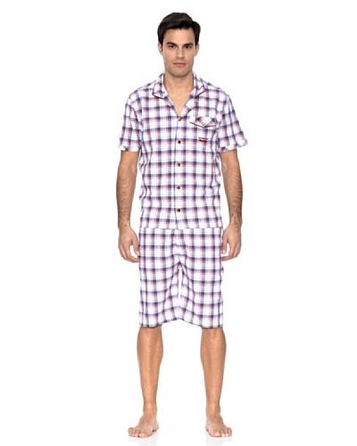 Springfield Pijama Cuadros Blanco / Violeta