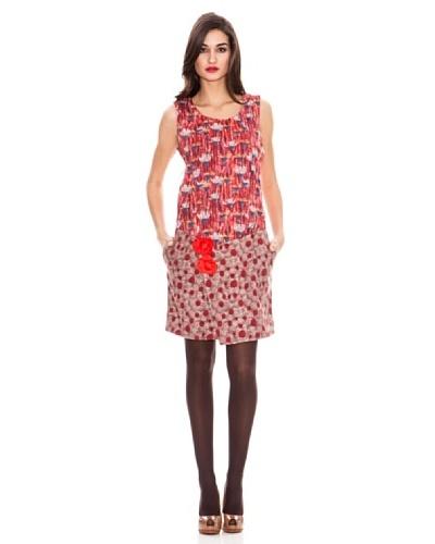 Strena Vestido Flores Rojo