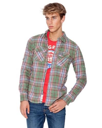 Superdry Camisa Manga Larga Verde / Rojo