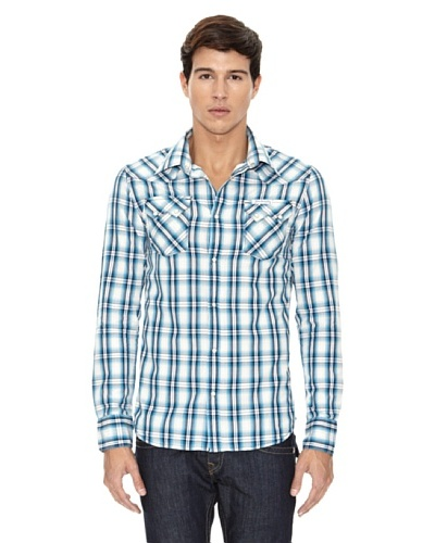 True Religion Camisa Cuadros Bolsillos Azul / Blanco