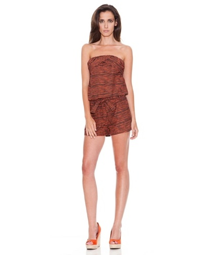 Women secret Mono Stripes Romper Marrón