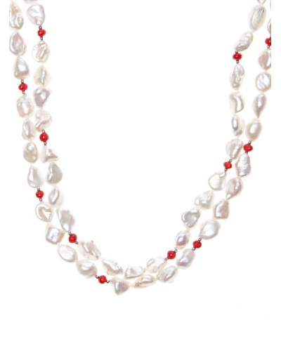 Yanes Collar Coral Sea Plata Perlas